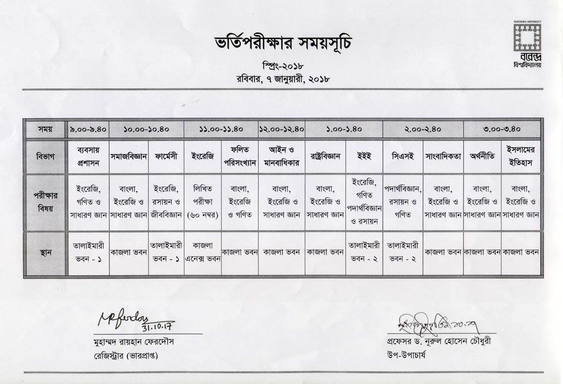 Admission Test Schedule Spring-2018